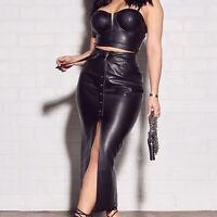 Women leather Skirt & Bra Black leather Party dress Adult BDSM women black dress