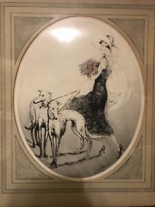 """KABY Original Dry Point Etching """"THE WHITE GREYHOUNDS"""" Embossed Stamp PARIS"""