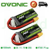 2X OVONIC 1000mAh 11.1V 35C 3S Lipo Battery XT60 Plug For RC Helicopter Airplane