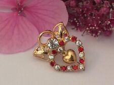 ANGEL Lapel Pin Goldtone Heart Red Crystal rhinestone with heart 28mm POST FREE