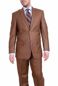 Mens 66R Vitali Classic Fit Solid Rust With Subtle Sheen Two Button Suit