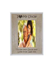 I Heart-love My Uncle 4 X 6 Photo Frame White Edge Wood Frame - Engraving