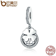 Bamoer Real S925 Sterling Silver Lucky Charm With Clear CZ Fit Bracelet Jewelry
