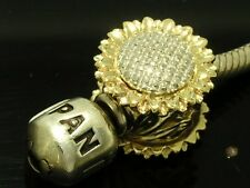 Bd063- LARGE Genuine 9ct Two-Tone Yellow Gold SUNFLOWER Bead - Fine Detailed