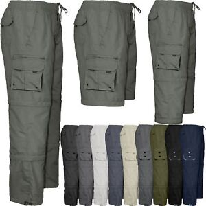Mens 3 in 1 Trousers Elasticated Waist Pants Shorts Cargo Combat Work Bottoms