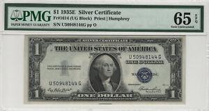 1935 E $1 SILVER CERTIFICATE FR.1614 PMG CERTIFIED GEM UNCIRCULATED 65 EPQ