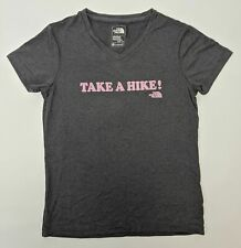 The North Face Take A Hike! Logo T-Shirt Girls Size Small 7/8 Dark Grey NWOT
