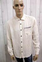 STONE ISLAND Camicia Uomo Taglia L Lino Shirt Chemise Casual Manica Lunga