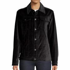 Hudson Jeans Womens Black Velvet Trucker Jacket Size M $295