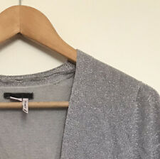Esprit long sleeved top, UK Medium, low v-neck, grey/silver knit