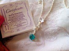 8FE véritable diamant bleu helenite Collier Pendentif avec certificat Joli Nouveau