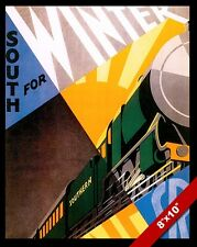 VINTAGE SOUTHERN RAILROAD WINTER VACATION TRAVEL AD POSTER ART REAL CANVAS PRINT