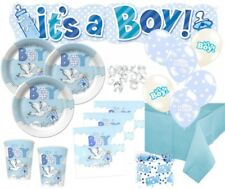 67 Teile Baby Shower Party Deko Set mit dem Motiv Blauer Storch 16 Personen Gebu