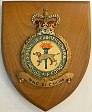 ROYAL AIR FORCE SCHOOL OF FIGHTER CONTROL CREST on WOODEN PLAQUE 6 X 7 Inches