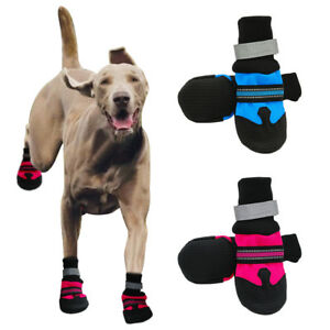 4pcs Large Dog Shoes Boots Booties for Snow Rain Waterproof Reflective Anti-slip
