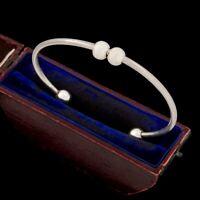 Antique Vintage Deco Mid Century Sterling 925 Silver Repousse Bead Cuff Bracelet
