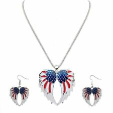 Independence Day American USA Flag Design Pendant Wings Necklace Earrings