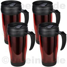 4x Thermobecher aus Kunststoff 400 ml Isolierbecher Autobecher Kaffeebecher rot