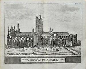 CHRISTCHURCH CATHEDRAL CANTERBURY Van Der Aa, Kip original antique print 1727