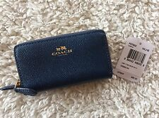 NWT COACH F57855 Leather Double Zip Card Coin Case Wallet Marina Blue READ SHIP
