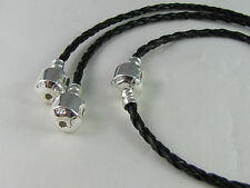 18cm BLACK 925 STAMPED BRAIDED LEATHER CHAIN FOR EUROPEAN STYLE CHARM BRACELETS