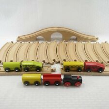Mixed Lot - Genuine Ikea Wooden Train Track + Engines & Cars - Lot Of 23 Pieces