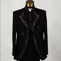 4 Pcs Mens Rhinestone Formal Casual Suit Jacket Tuxedo Wedding Dress Blazer New