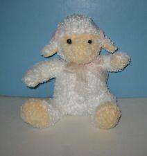 "10"" Chrisha Pudgie Baby Lamb / Sheep Stuffed Bean Tush Plush w/ Pink Bow"