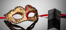 kleine original venezianische Maske Augenmaske Karneval Fasching Rot Gold