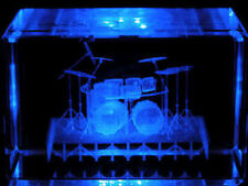 3D Laser Etched Crystal Drum Set  W/Light Base