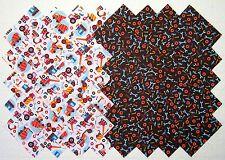 "TRUCKS & TOOLS 4"" Squares, Calico Prewashed 100% cotton Quilt Block Fabric #105A"