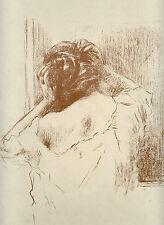 gravure lithographie originale, Ferdinand Jean Luigini Etude Femme en buste 1895