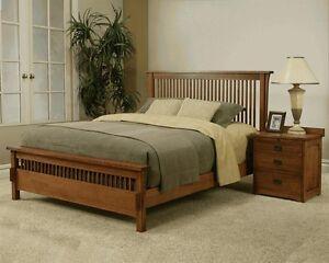 MADE IN THE USA! QUEEN MISSION RIFT & QUARTER SAWN OAK BED BEDROOM SET FURNITURE