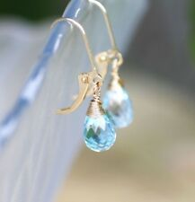 Natural Sky Blue Topaz Briolette Wire Wrap Earrings Solid14K Yellow Gold 4th Ann