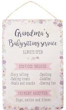 Grandma's Babysitting Service Always Open Floral Metal Wall Sign 30 X 20cm