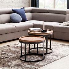 2er Set Beistelltische Akazie Wohnzimmertisch Couchtisch Wohnzimmer Tisch Holz