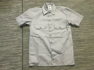Dickies Adult Mens Small Button Up Shirt Short Sleeve Cotton Blend Gray