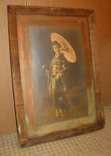 "Antique 19 x 28"" Young Woman in Kimono / Furisode Framed Colored Photograph"
