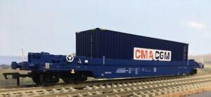 Dapol B910E - OO KQA/KTA Pocket Wagon & Container GERRS97738 + CMA/CGM 40' HC