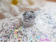 Nail Art Chunky *CosMic* Silver Dot Circles Holographic Glitter Spangles Mix Pot