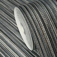 Wallpaper gray black silver metallic wallcoverings Textured faux grasscloth 3D