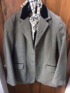 Ladies Shires Huntingdon Green Keepers Tweed Show/Hunt Jacket Size 34