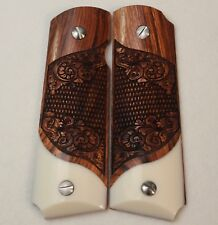 1911 Full Size Grips by Dan Eagle  Kimber Colt S&W Solid Rosewood & Faux Ivory