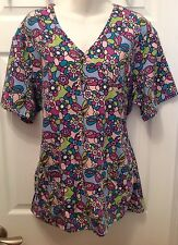 Carol's Scrub Top Size M (8-10) Floral Butterflies Pattern Tie Back V-Neck Nurse