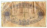 France 1939 Currency Note 500 Francs - Blue et Rose Large French Money - BD860