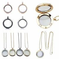 30mm Living Memory Floating Charms Glass Locket Pendant Necklace Chain Gifts Hot