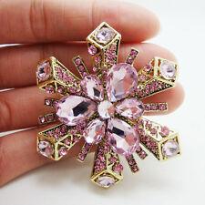 New Elegant Pink Snowflake Flower Brooch Rhinestone Crystal Pendant