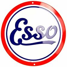 """Esso Oil Retro Gasoline Logo Embossed Metal 12"""" Circle Sign"""