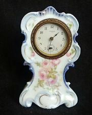 Antique New Haven Wind Up Clock, China Porcelain Rose Flower Case