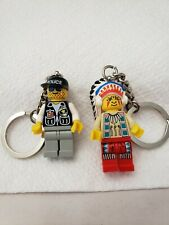 LEGO Native American Indian Chief  and Policeman Rare Key Chains Figure